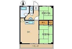高砂マンション[2B号室]の間取り