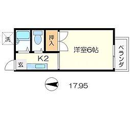 京都府京都市左京区聖護院西町の賃貸アパートの間取り
