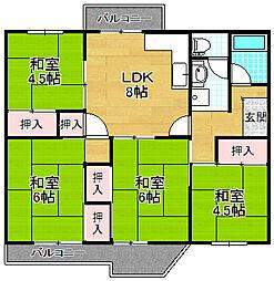 釈尊寺第1住宅第17号棟[4階]の間取り