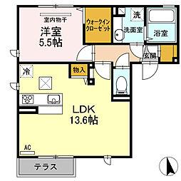 アンジェリーク新開 B棟[1階]の間取り