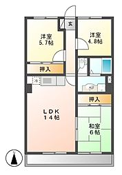 愛知県名古屋市守山区喜多山2の賃貸マンションの間取り