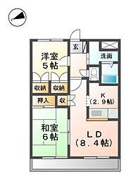 滋賀県高島市城山台1丁目の賃貸アパートの間取り