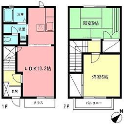 [テラスハウス] 神奈川県相模原市中央区上矢部4丁目 の賃貸【/】の間取り