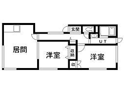 ベアーハウス 3階2LDKの間取り