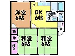 愛媛県松山市北土居1丁目の賃貸アパートの間取り