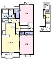 東京都八王子市中野上町3丁目の賃貸アパートの間取り