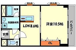 マジェスティック21 3階1LDKの間取り