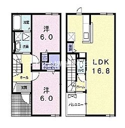 岡山県倉敷市中島丁目なしの賃貸アパートの間取り