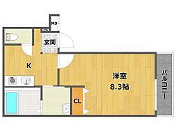 フジパレス西立花7番館 1階1Kの間取り