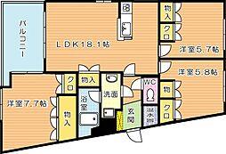 アメニス桜山寺 B棟[14階]の間取り
