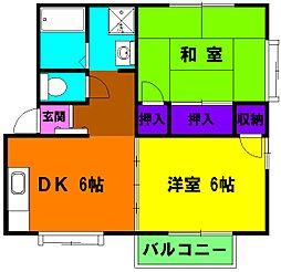 静岡県浜松市中区領家3丁目の賃貸アパートの間取り