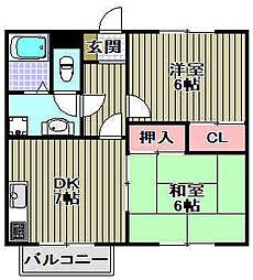 モアクレスト花田公園B棟[103号室]の間取り