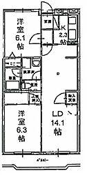 神奈川県川崎市麻生区上麻生3丁目の賃貸マンションの間取り