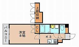 No.87 マリアージュステーション 3階1Kの間取り
