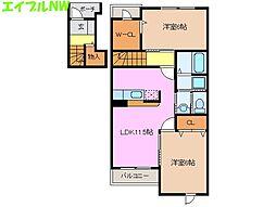 リバーサイドシティ B棟[2階]の間取り