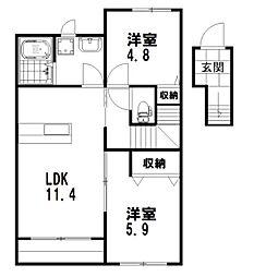 熊本県上益城郡益城町大字木山の賃貸アパート 2階2LDKの間取り