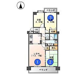 愛知県名古屋市北区清水5丁目の賃貸マンションの間取り
