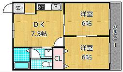 レオハイム高塚[4階]の間取り
