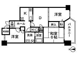 ロワールマンション室見川[4階]の間取り