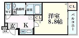 阪神本線 西宮駅 徒歩6分の賃貸アパート 1階1Kの間取り