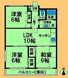 JR横浜線 古淵駅 徒歩10分の賃貸マンション 3階3LDKの間取り