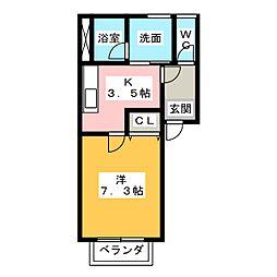 サニーコート上浜B[2階]の間取り