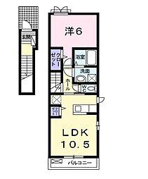 大阪府富田林市常盤町の賃貸アパートの間取り