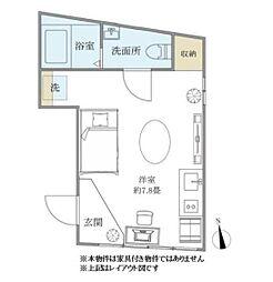 JR山手線 日暮里駅 徒歩9分の賃貸マンション 1階ワンルームの間取り