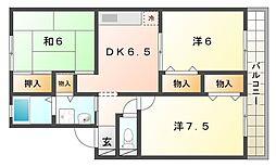 大阪府寝屋川市葛原2丁目の賃貸アパートの間取り