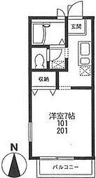 エクレール川崎[101号室号室]の間取り
