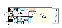 阪急神戸本線 中津駅 徒歩3分の賃貸マンション 10階1Kの間取り
