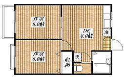 カギナカハイツ A棟[1階]の間取り