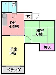 平野西コスモハイツ[405号室]の間取り