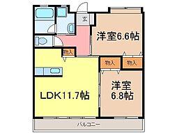 静岡県富士市横割6丁目の賃貸マンションの間取り