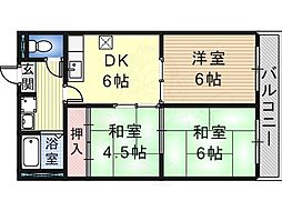 クレインストリート松本 1階2LDKの間取り