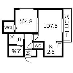 札幌市営東西線 東札幌駅 徒歩12分の賃貸マンション 4階1LDKの間取り