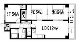 インペリアル花屋敷[5階]の間取り