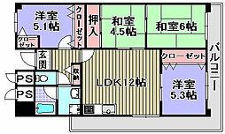 プリムローズ岸和田[705号室]の間取り
