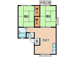 上野ハイツI[2階]の間取り