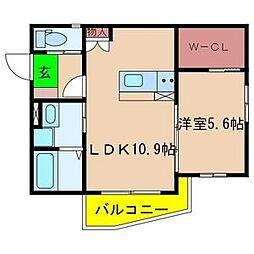 カーサウエスト[3階]の間取り