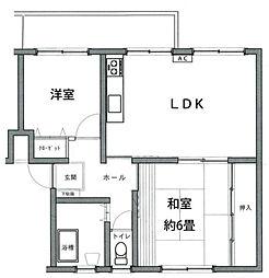竹山団地4314号棟[1階]の間取り