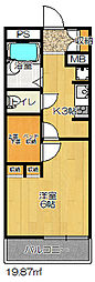 JR片町線(学研都市線) 忍ヶ丘駅 徒歩8分の賃貸アパート 3階1Kの間取り