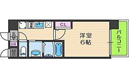 エステムコート中之島GATEII 9階1Kの間取り