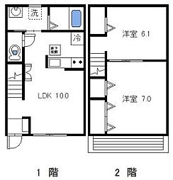 JR成田線 下総神崎駅 徒歩23分の賃貸アパート 2階2LDKの間取り