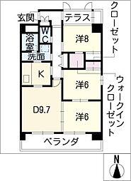 リバーズマンション築捨II[3階]の間取り