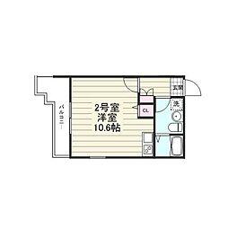 都営大江戸線 門前仲町駅 徒歩7分の賃貸マンション 2階ワンルームの間取り