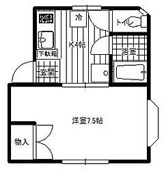 神奈川県大和市上草柳2の賃貸アパートの間取り