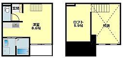 名鉄名古屋本線 東岡崎駅 徒歩11分の賃貸アパート 2階ワンルームの間取り