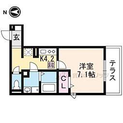 仮称)D−room一乗寺高槻町 1階1Kの間取り