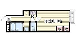 JR播但線 香呂駅 徒歩7分の賃貸アパート 1階1Kの間取り